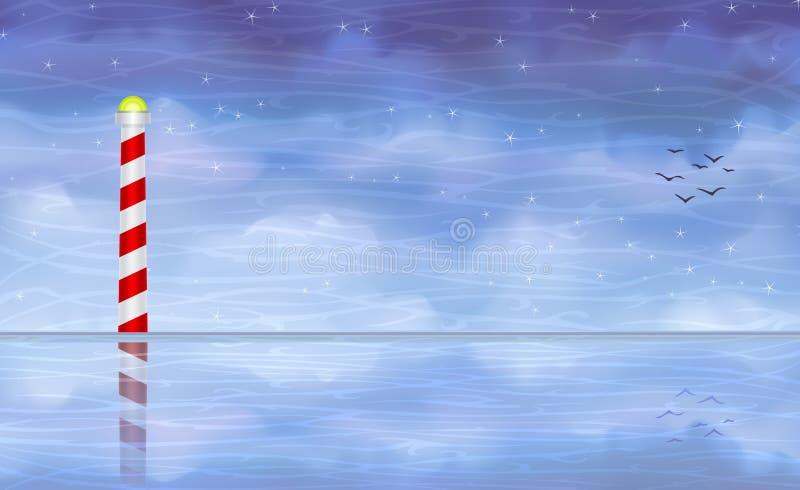 Farol listrado que reflete na água ilustração royalty free