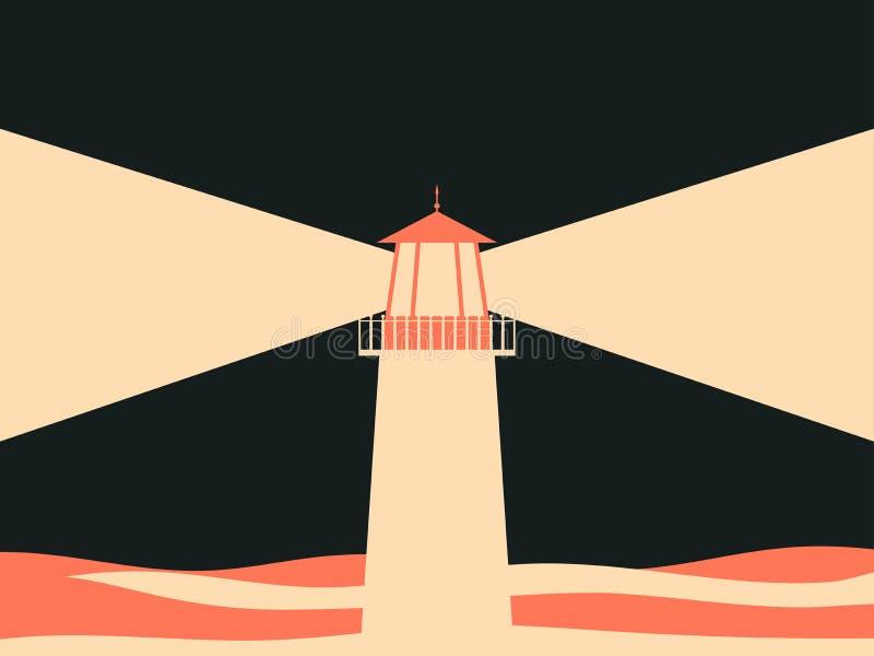 Farol na cor do mar, a bege e a vermelha, estilo retro Vetor ilustração stock