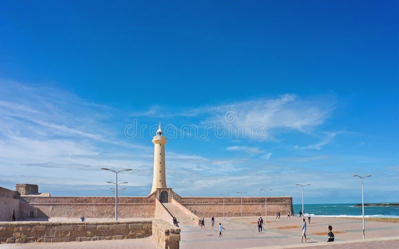 Farol na costa atlântica de Rabat imagens de stock