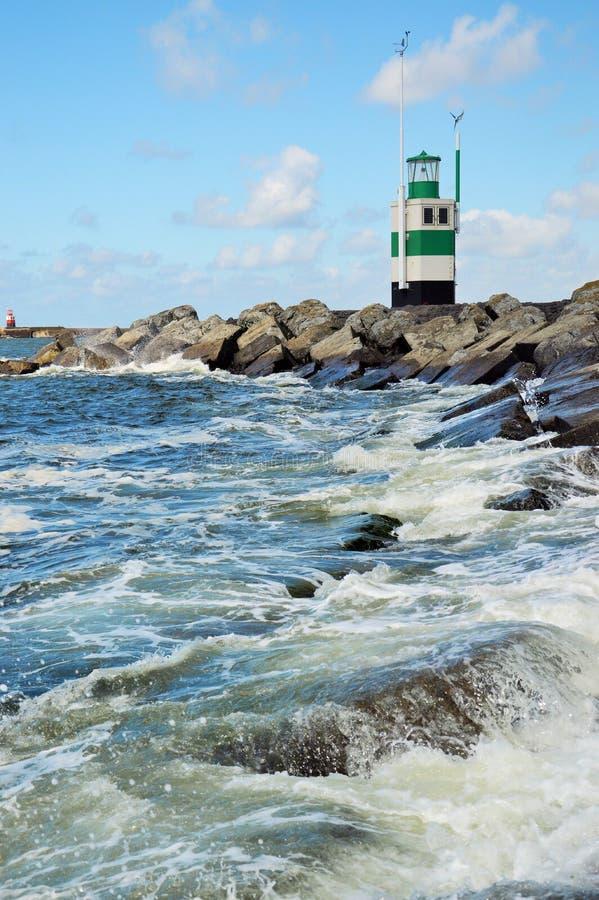Farol na Holanda de IJmuiden fotos de stock