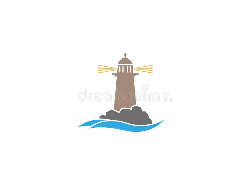 Farol na ilha no meio do mar para o projeto do logotipo ilustração stock