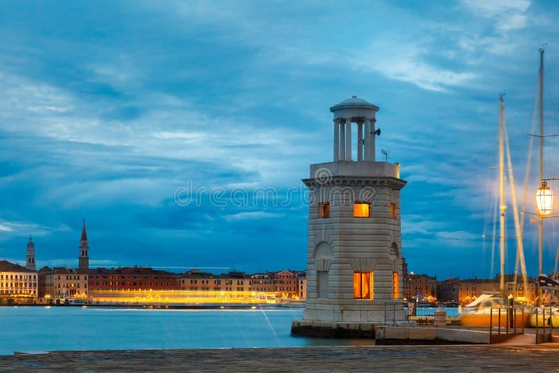 Farol na ilha San Giorgio Maggiore, Veneza fotografia de stock