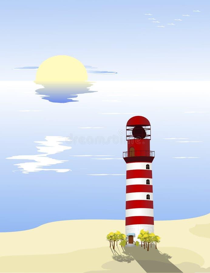 Farol na praia ilustração do vetor