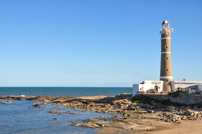 Farol na praia Uruguai de San Ignacio Ámérica do Sul de viagem fotografia de stock royalty free