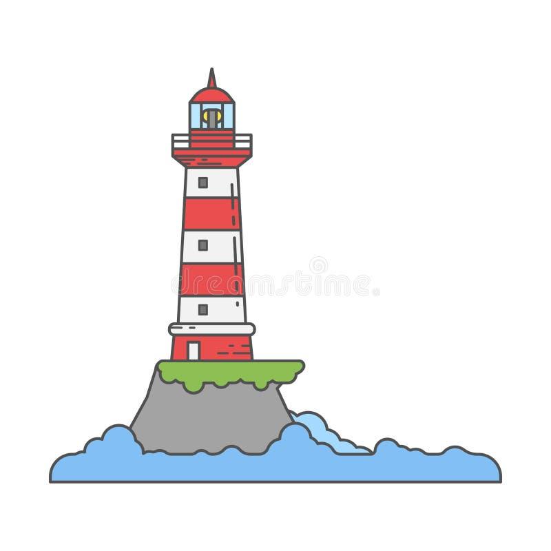 Farol no ícone da costa da ilha na linha estilos dos desenhos animados ilustração do vetor