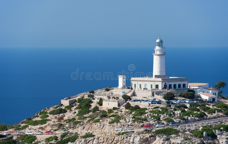 Farol no cabo Formentor na costa de Mallorca norte fotografia de stock royalty free