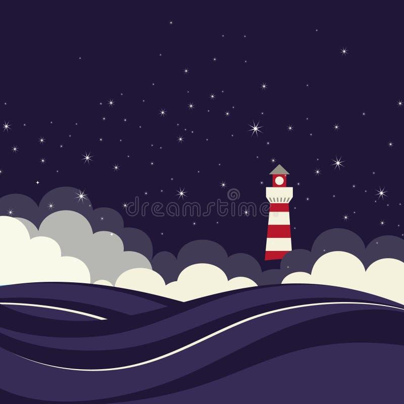 Farol no mar da noite. ilustração royalty free