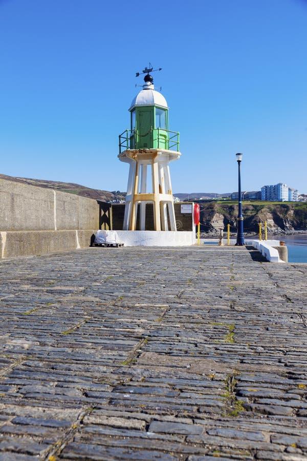 Farol no porto Erin na ilha do homem fotografia de stock royalty free