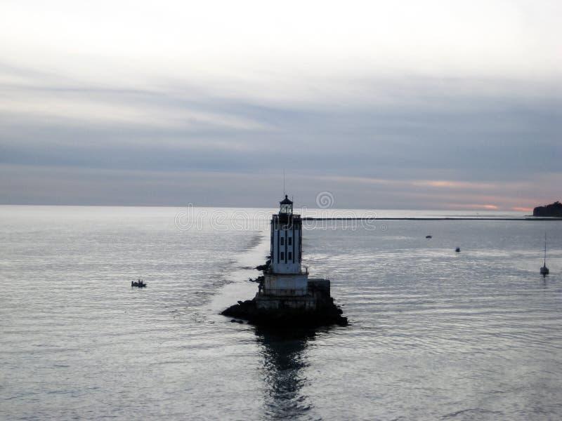 Farol no quebra-mar de Long Beach Califórnia fotografia de stock