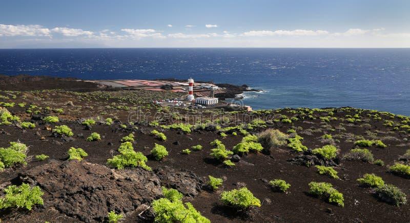 Farol perto de Fuencaliente (La Palma, Ilhas Canárias) imagem de stock royalty free