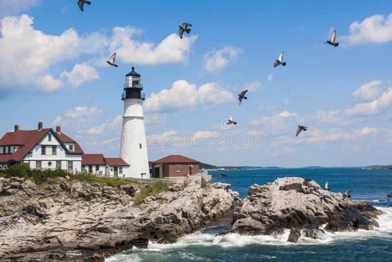 Farol principal de Portland em Maine fotografia de stock