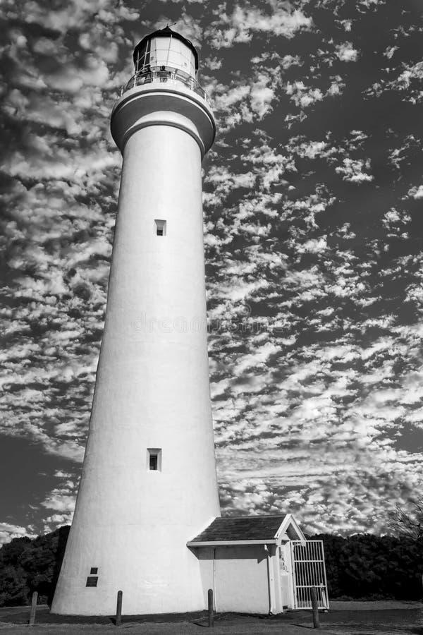 Farol rachado do ponto, entrada de Aireys, Victoria, Austrália, em outubro de 2016 foto de stock