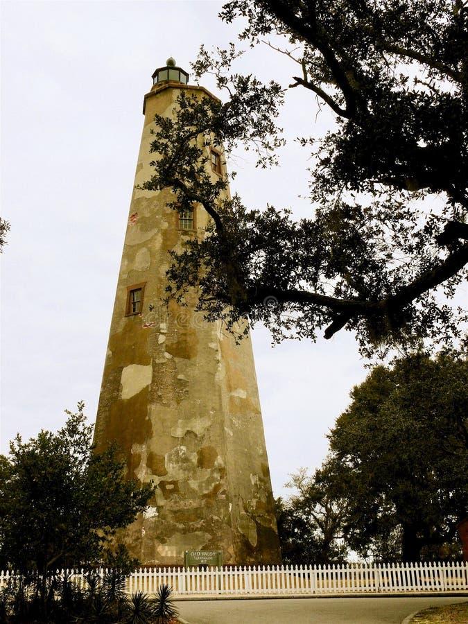 Farol velho de Baldy, ilha da cabeça calva, North Carolina fotos de stock