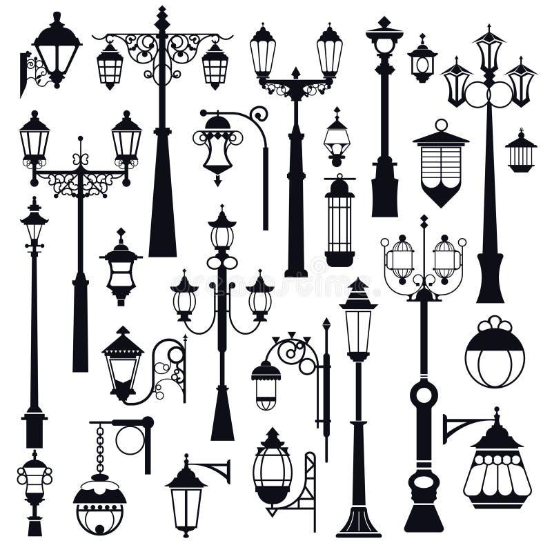 Farola, calle al aire libre y linternas del parque, objetos aislados ilustración del vector