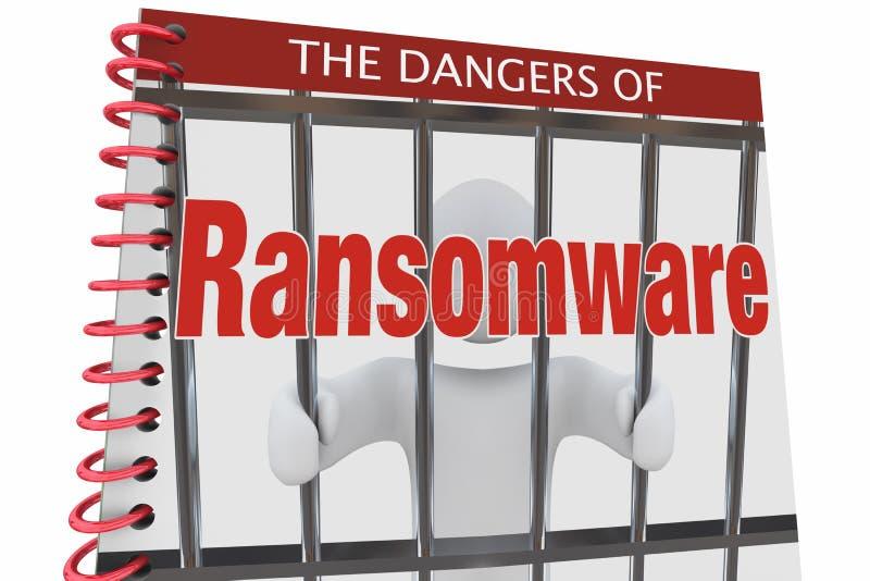 Faror av attacker för den Ransomware internetcyberen bokar 3d Illustratio stock illustrationer