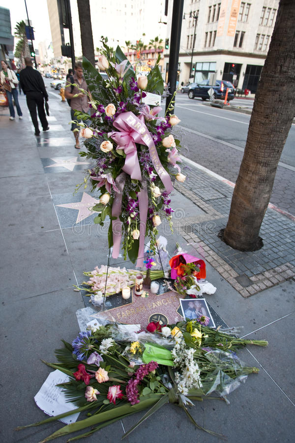 Farrah Fawcett Dead. Hollywood Blvd, Ca - Farrah Fawcett's Walk of Fame star is covered with flowers royalty free stock photography
