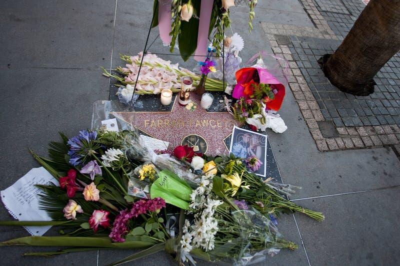 Farrah Fawcett Dead. Hollywood Blvd, Ca - Farrah Fawcett's Walk of Fame star is covered with flowers stock photos