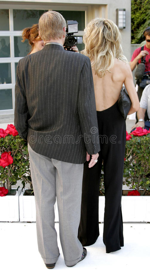 Farrah Fawcett and Jay Bernstein. HOLLYWOOD, CA - OCTOBER 05, 2005: Farrah Fawcett and Jay Bernstein at the remembering Rodney Dangerfield held at at the home of stock photo