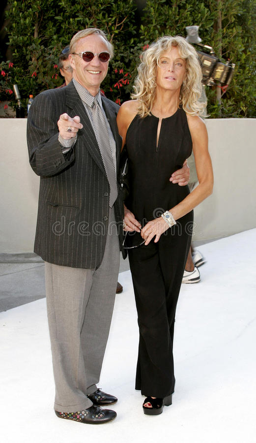 Farrah Fawcett and Jay Bernstein. HOLLYWOOD, CA - OCTOBER 05, 2005: Farrah Fawcett and Jay Bernstein at the remembering Rodney Dangerfield held at at the home of royalty free stock photo