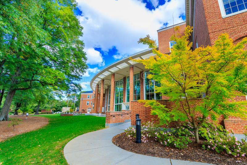 Farrell Hall at Wake Forest University. WINSTON-SALEM, NC, USA: Farrell Hall on October 26, 2019 at Wake Forest University in Winston-Salem, North Carolina stock photos