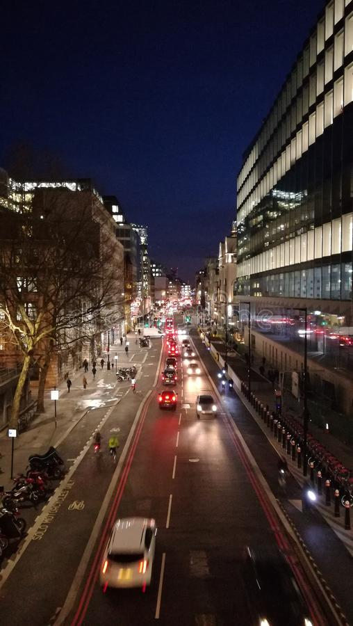 Farringdon街道在伦敦,冬天2019年 库存图片