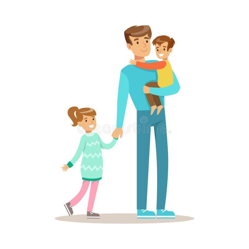 Farsa med sonen och dottern som älskar den faderEnjoying Good Quality pappan Tid med den lyckliga ungen stock illustrationer
