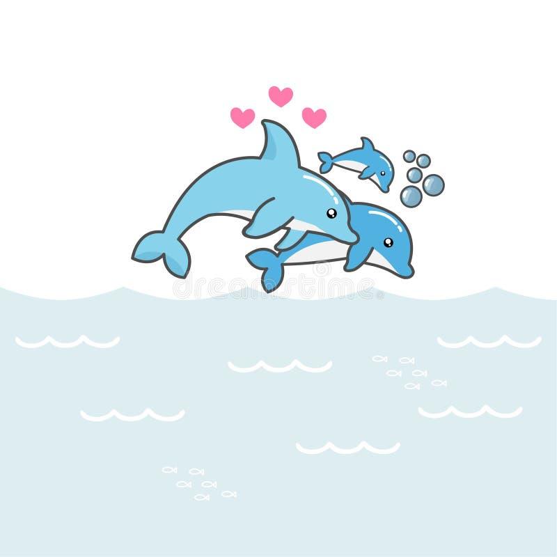 Farsamamma och att behandla som ett barn delfin som hoppar ut ur vattnet vektor illustrationer