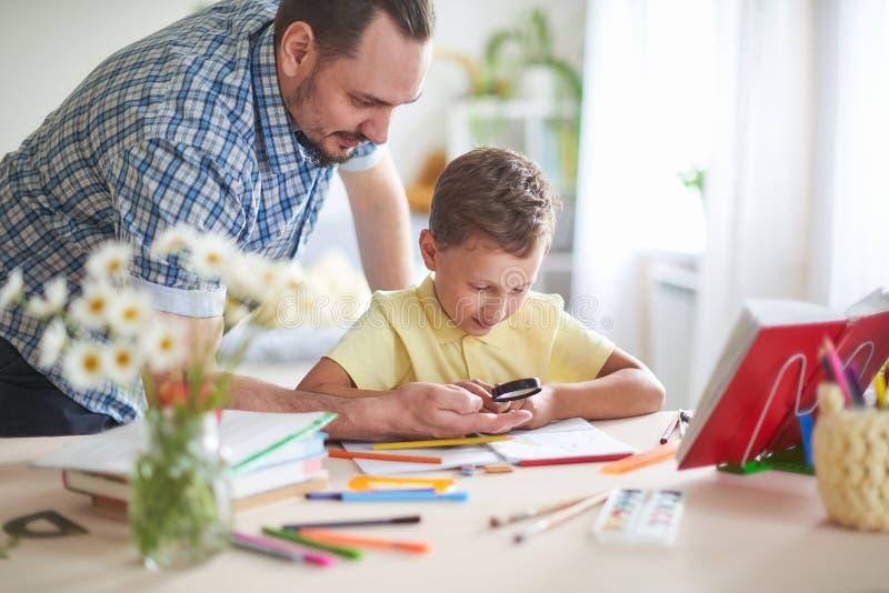 Farsan hjälper hans son att göra läxa hem- skolgång, hem- kurser utvändiga skolagrupper med föräldrar fadern undersöker med hans  arkivfoton