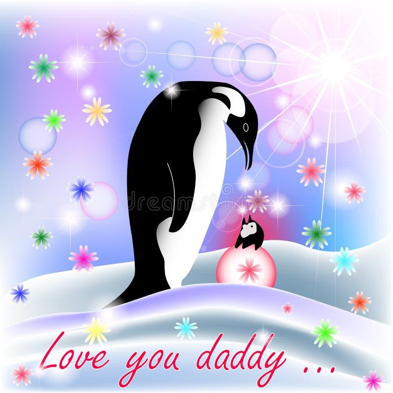 Farsan och behandla som ett barn FLICKApingvinet med polar bakgrund stock illustrationer