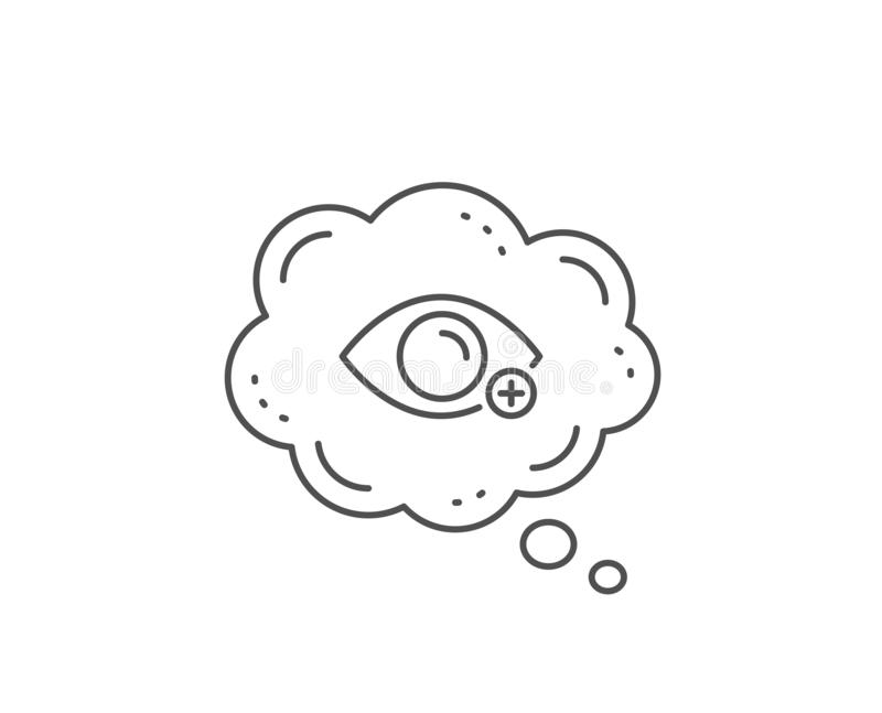 Farsightedness line icon. Eye diopter sign. Optometry vision. Vector. Farsightedness line icon. Chat bubble design. Eye diopter sign. Optometry vision symbol stock illustration