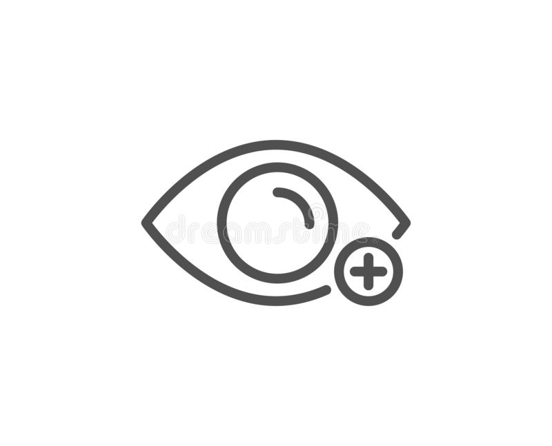 Farsightedness line icon. Eye diopter sign. Optometry vision. Vector. Farsightedness line icon. Eye diopter sign. Optometry vision symbol. Quality design element royalty free illustration