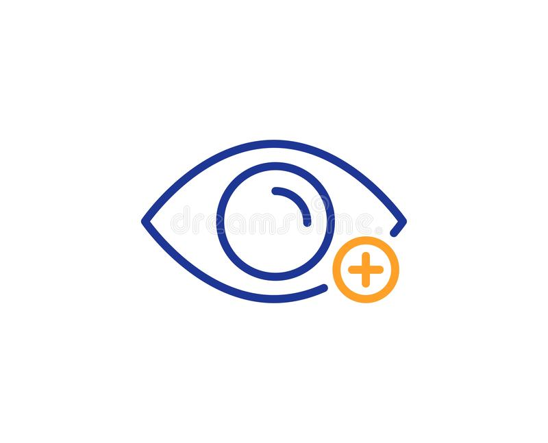 Farsightedness line icon. Eye diopter sign. Optometry vision. Vector. Eye diopter sign. Farsightedness line icon. Optometry vision symbol. Colorful outline royalty free illustration