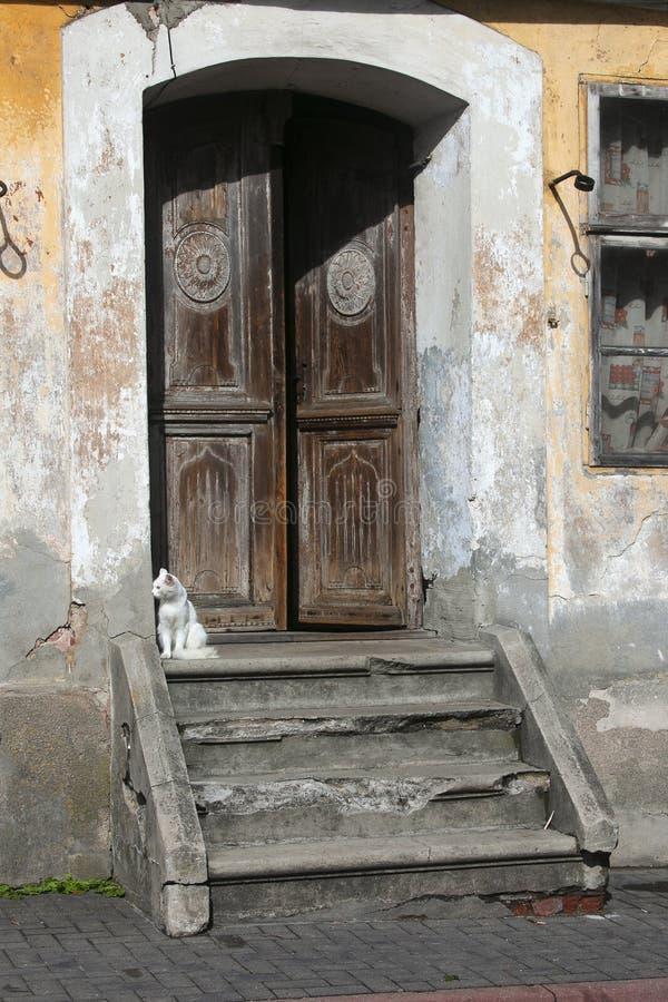 Farstubro av det gamla huset med den sittande katten royaltyfri bild