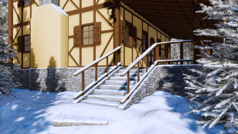 Farstubro av det korsvirkes- lantliga huset på vinterdagen stock illustrationer