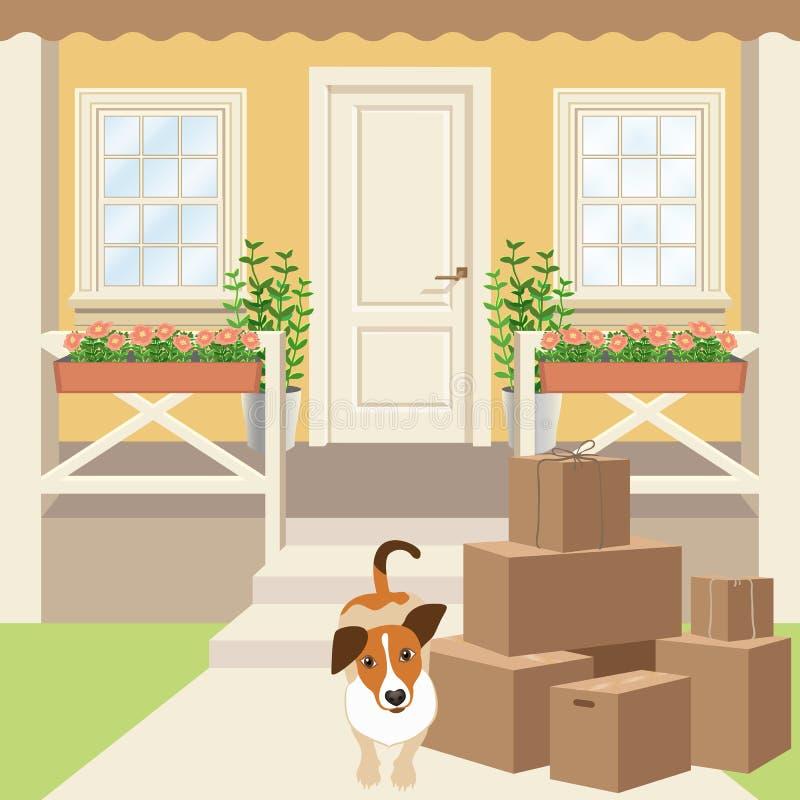 Farstubro för landshus med paneldörren, fönster och växter Körbana, kartonger och valphund stock illustrationer