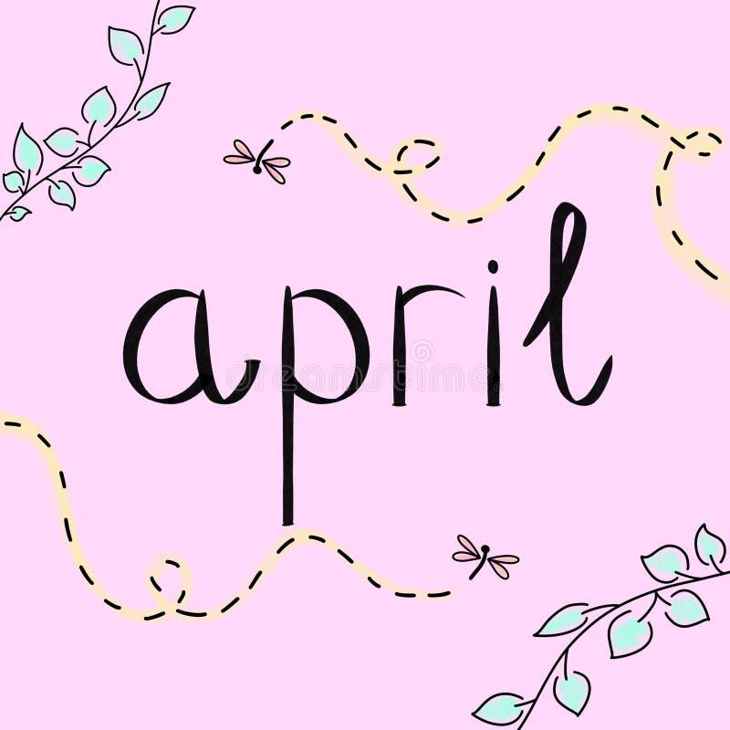 fartuch Ilustracyjny lekkich kolorów wizerunek Wiosna sezonu karta Plakat z zielonymi liśćmi, fiołkowi latający dragonflies insek ilustracja wektor