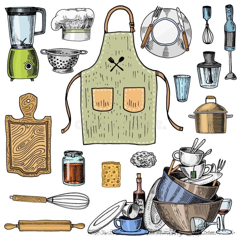 Fartuch, pinaphora, kapiszon, toczna szpilka, rondel lub deska, koronowa, drewniana, ilustracja wektor