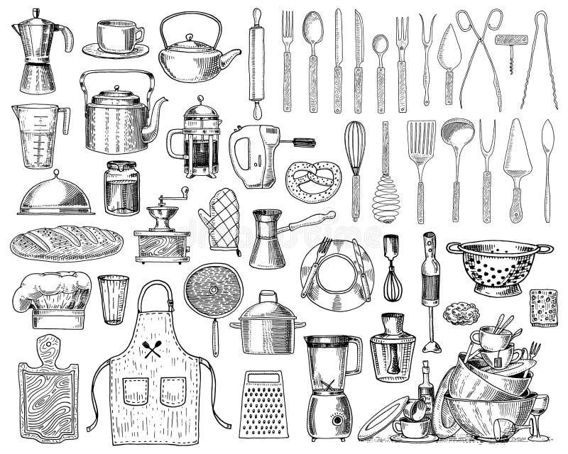 Fartuch, pinaphora, kapiszon, toczna szpilka, rondel lub deska, koronowa, drewniana, Szef kuchni i brudni kuchenni naczynia gotuj ilustracja wektor