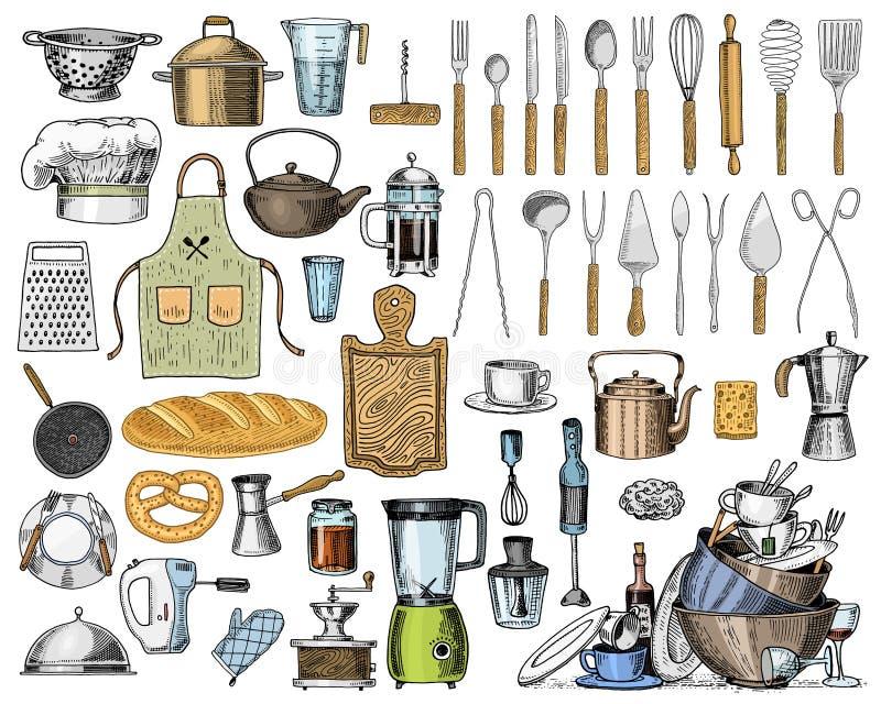Fartuch, pinaphora, kapiszon, toczna szpilka, rondel lub deska, koronowa, drewniana, Szef kuchni i brudni kuchenni naczynia gotuj royalty ilustracja
