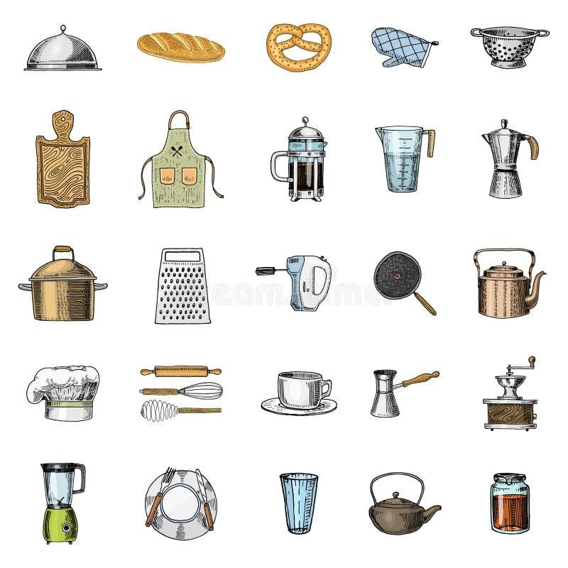 Fartuch, pinaphora, kapiszon, toczna szpilka, rondel lub deska, koronowa, drewniana, Szef kuchni i brudni kuchenni naczynia gotuj ilustracji