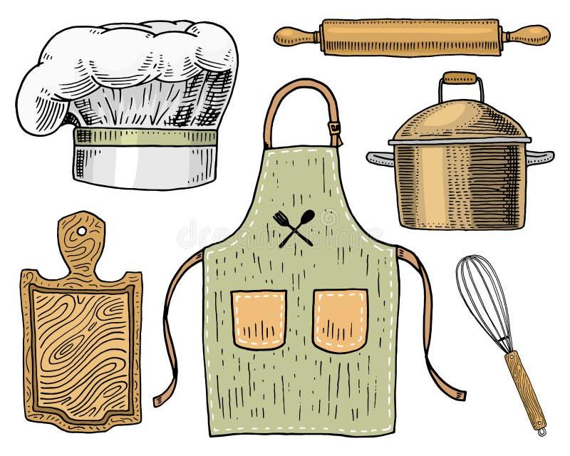 Fartuch, pinaphora, kapiszon, toczna szpilka, rondel lub deska, koronowa, drewniana, Szefa kuchni i kuchni naczynia, gotuje mater ilustracji