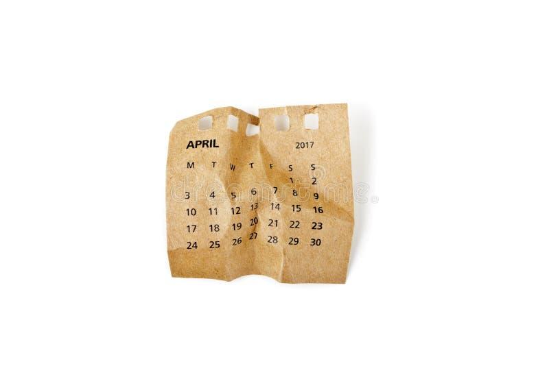 fartuch Zmięty kalendarza prześcieradło razem przechodzącego fotografia stock
