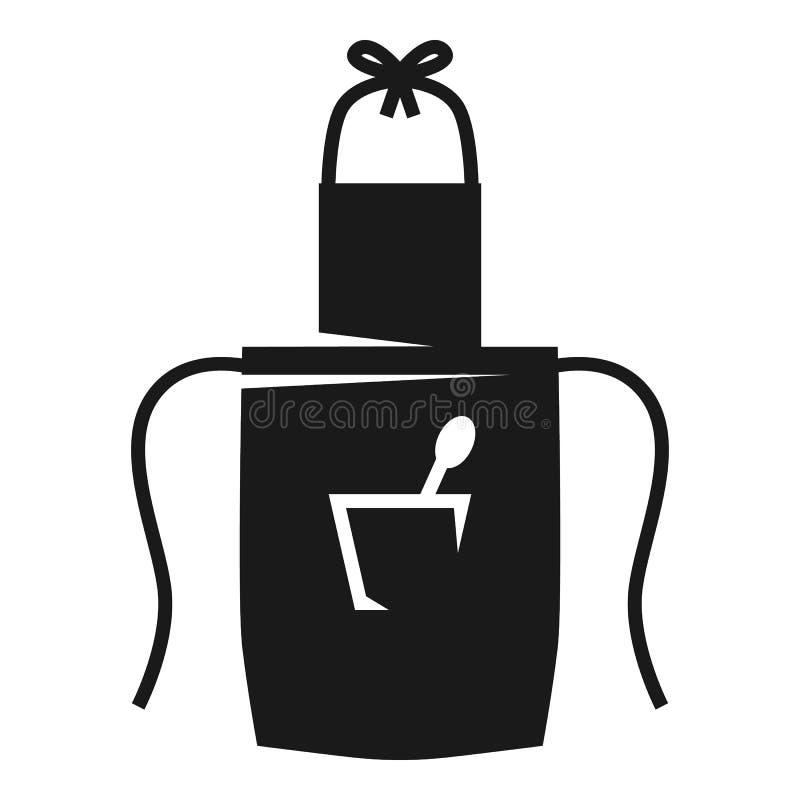 Fartuszek z łyżką w kieszeniowej ikonie, prosty styl ilustracja wektor