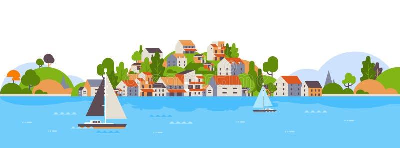 Fartyg över baner för begrepp för semester för sommar för kust för yacht för hav för bakgrund för hotell för hus för strandsjösid vektor illustrationer