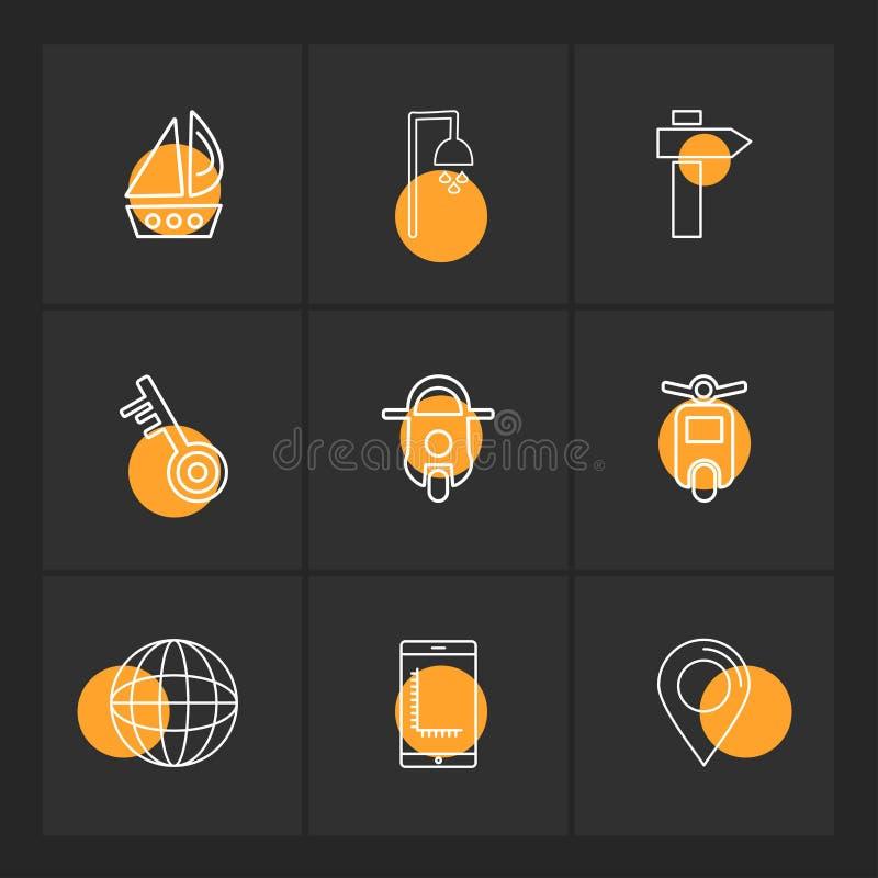 fartyg dusch, navigering, sparkcykel, cykel, transport, lopp royaltyfri illustrationer