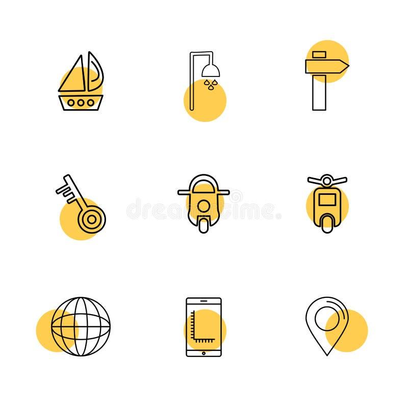 fartyg dusch, navigering, sparkcykel, cykel, transport, lopp stock illustrationer