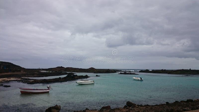 Fartyg för fiskare` s, Isla de los Lobos, kanariefågelö arkivbilder