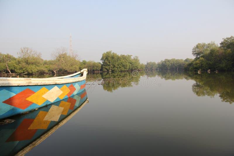 Fartyg i avkrokarna under mangrovar arkivfoton