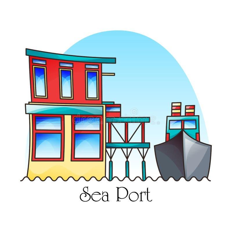 Fartyg i hamn eller i hamnens yttre vy. Transport vektor illustrationer