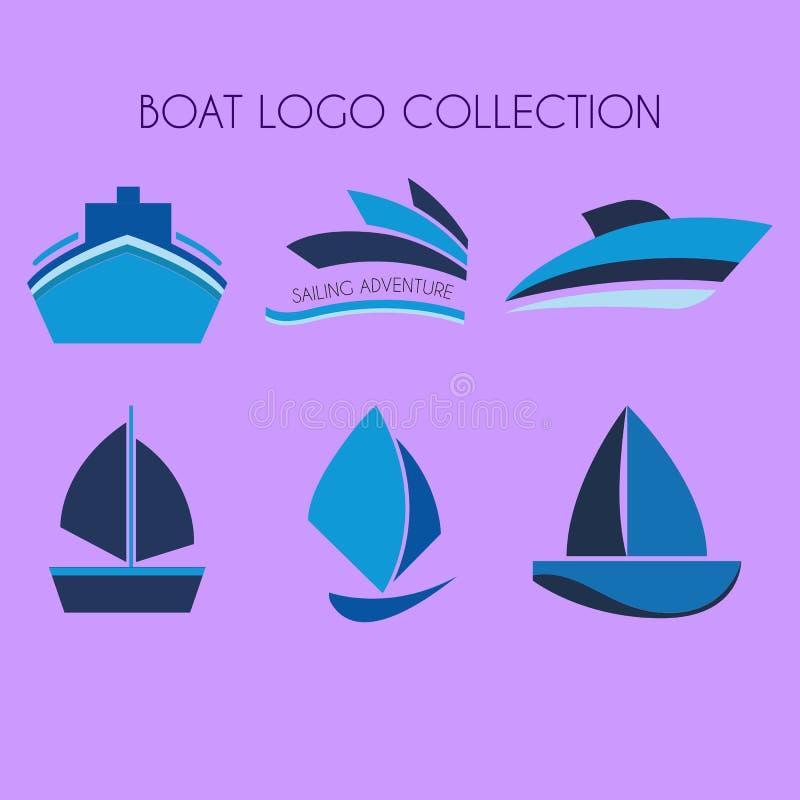 Fartyg Logo Collection, skepplogo, fartyglogo stock illustrationer
